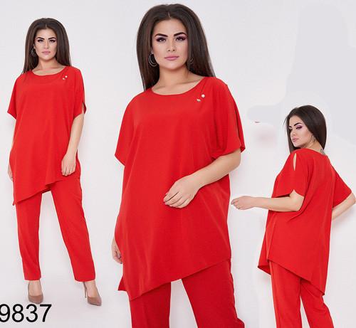 Женский брючный костюм с удлиненной блузкой (красный) 89837