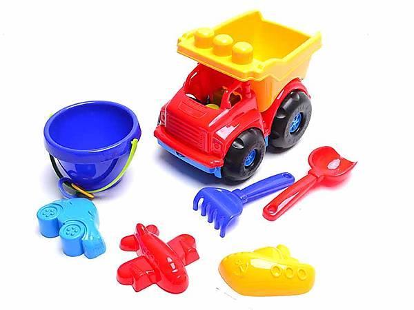 "Машина ""Тотошка"" самоскид №3: машинка, відерко, лопата, грабельки та три пасочки COLORPLAST 0183"