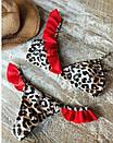 Раздельный леопардовый купальник с красными рюшами, фото 3