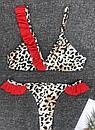 Раздельный леопардовый купальник с красными рюшами, фото 5