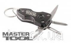 """MasterTool  Мультитул-брелок 5-в-1 (нож, отвертка """"+"""", отвертка """"-"""", фонарик, открывалка), Арт.: 79-0025"""