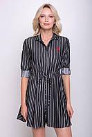 Платье в полоску с расклешенной юбкой NORI темно-серое, фото 1
