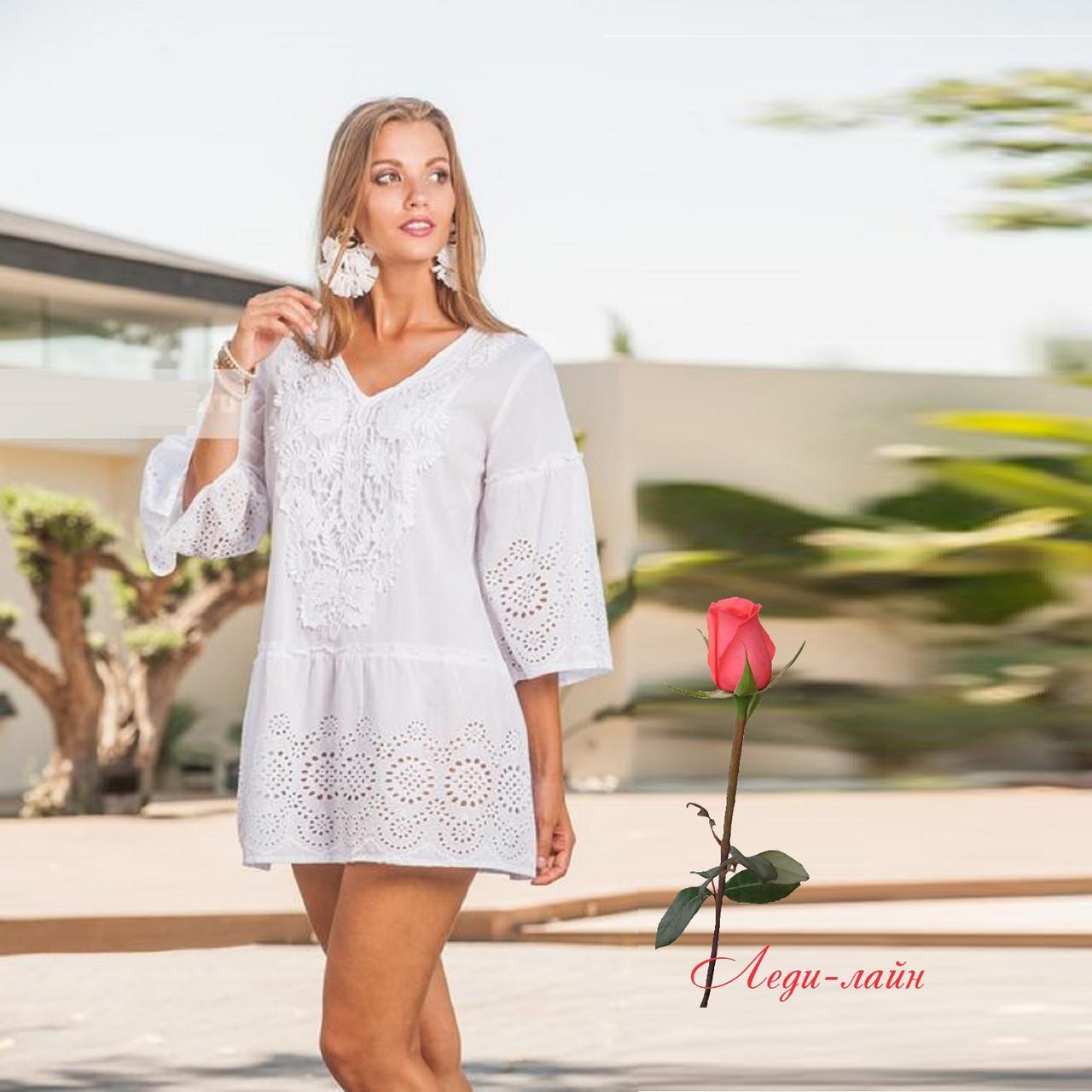 Белое летнее платье из хлопка  1372