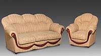 """Комплект классической мягкой мебели в гостиную """"Мальта"""", диван и кресло, под заказ, фабрика мебели """"Курьер"""""""