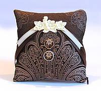 Свадебная подушечка для обручальных колец Золотой кофе (кофейная, коричневая, шоколадная с золотом), фото 1