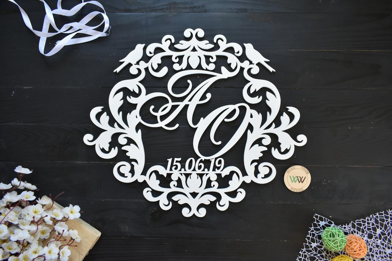 Свадебный герб, монограмма с инициалами и датой, с птичками, инициалы молодых, объемные буквы на свадьбу