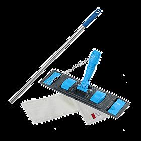 Швабра-Флаундер плоска 50 см з насадкою з мікрофібри для вологого прибирання підлоги