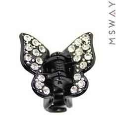 KATTi Краб для волос 28 417 малый пластик черный бабочка с белыми стразами 1шт