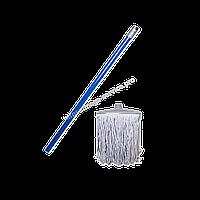 Круглая веревочная швабра с металлической ручкой-держателем