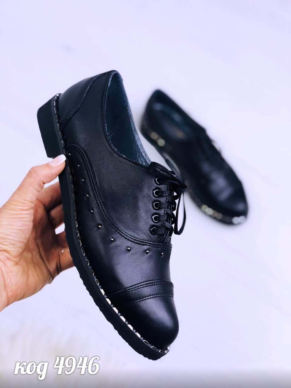 Туфли оксфорды кожаные женские на шнурках