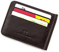Кожаный зажим для денег  с ячейками для визиток ST коричневого  цвета
