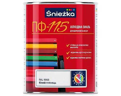 SNIEZKA ПФ-115 Алкідна емаль білий глян.RAL 9003 0,9 кг.