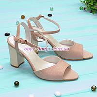 Женские кожаные босоножки на устойчивом каблуке, цвет розовый, фото 1