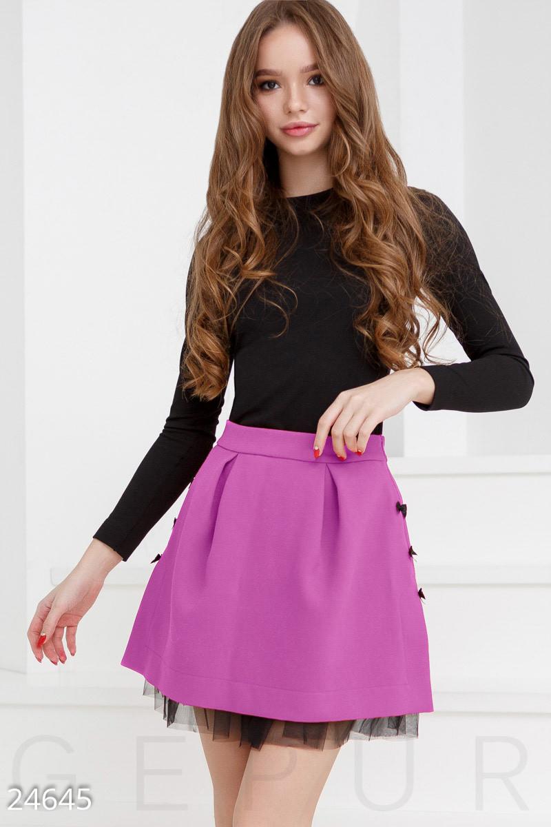 Праздничная юбка мини с пышным подъюбником фиолетовая
