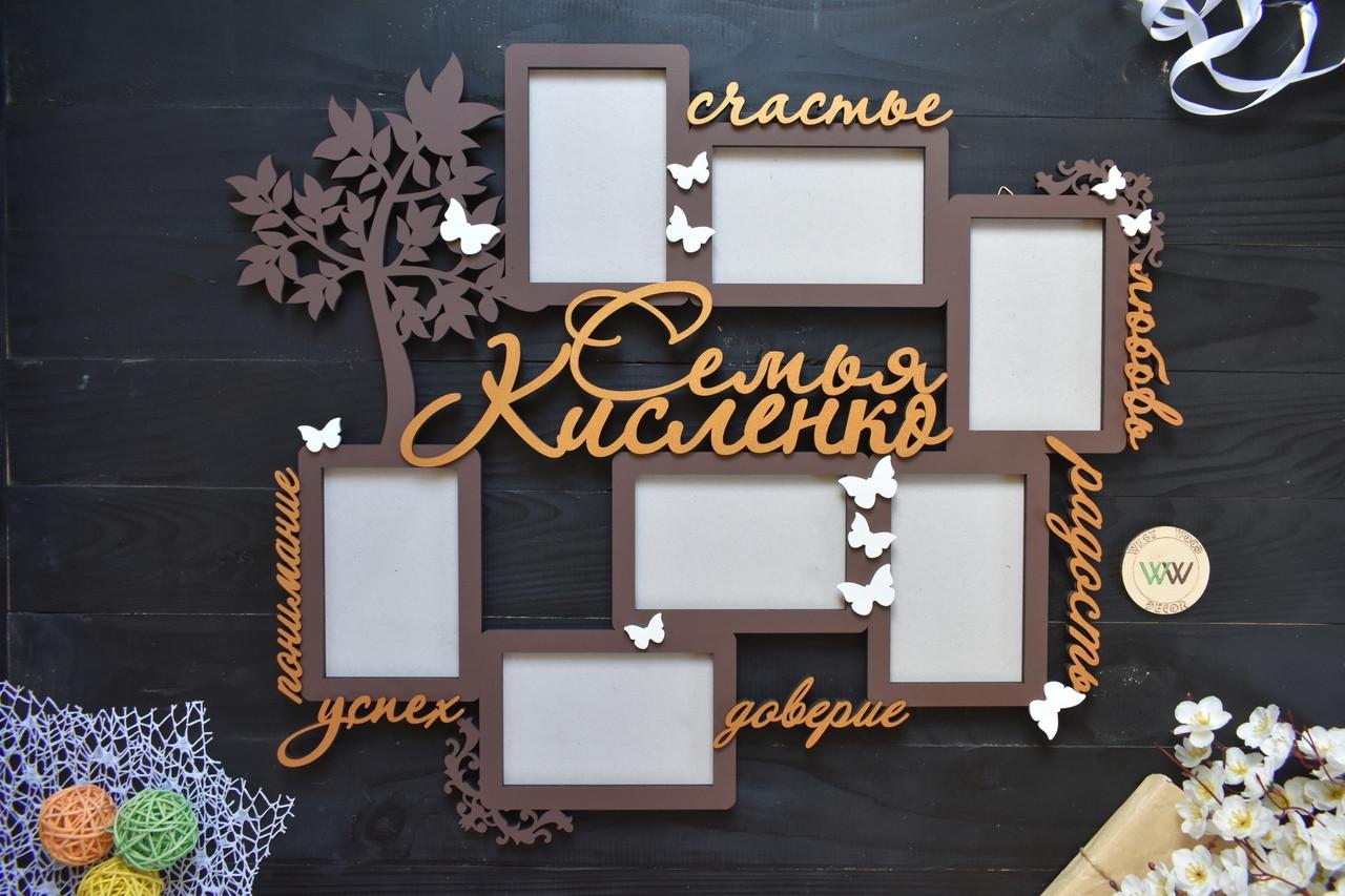 Семейная фоторамки из дерева с фамилией, деревянная фоторамка на 7 фото с деревом и бабочками.