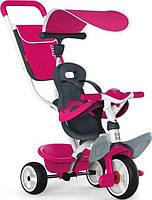 Smoby — Детский металлический велосипед с козырьком багажником и сумкой розовый