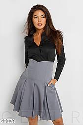 Расклешенная юбка с завышенной талией светло серая