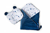 Набор конверт - плед и подушка Twins Bear dark blue (Набір конверт-плед з подушкою Twins Bear синій)