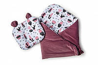 Набор конверт - плед и подушка Twins Bear purpur (Набір конверт-плед з подушкою Twins Bear бордо)
