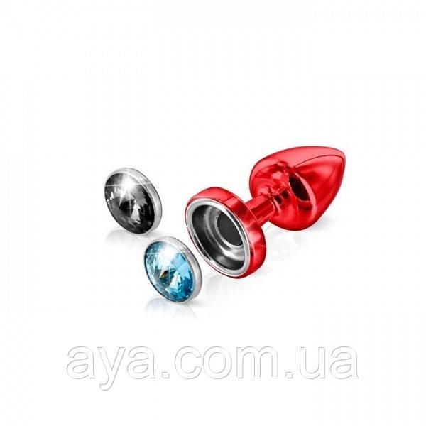 Анальная пробка со сменными стразами Diogol Anni Magnet Red Аквамарин/Карбонадо 25 мм