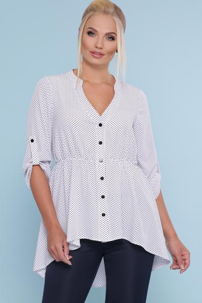 Батальная блузка в мелкий горошек р.48 по 54