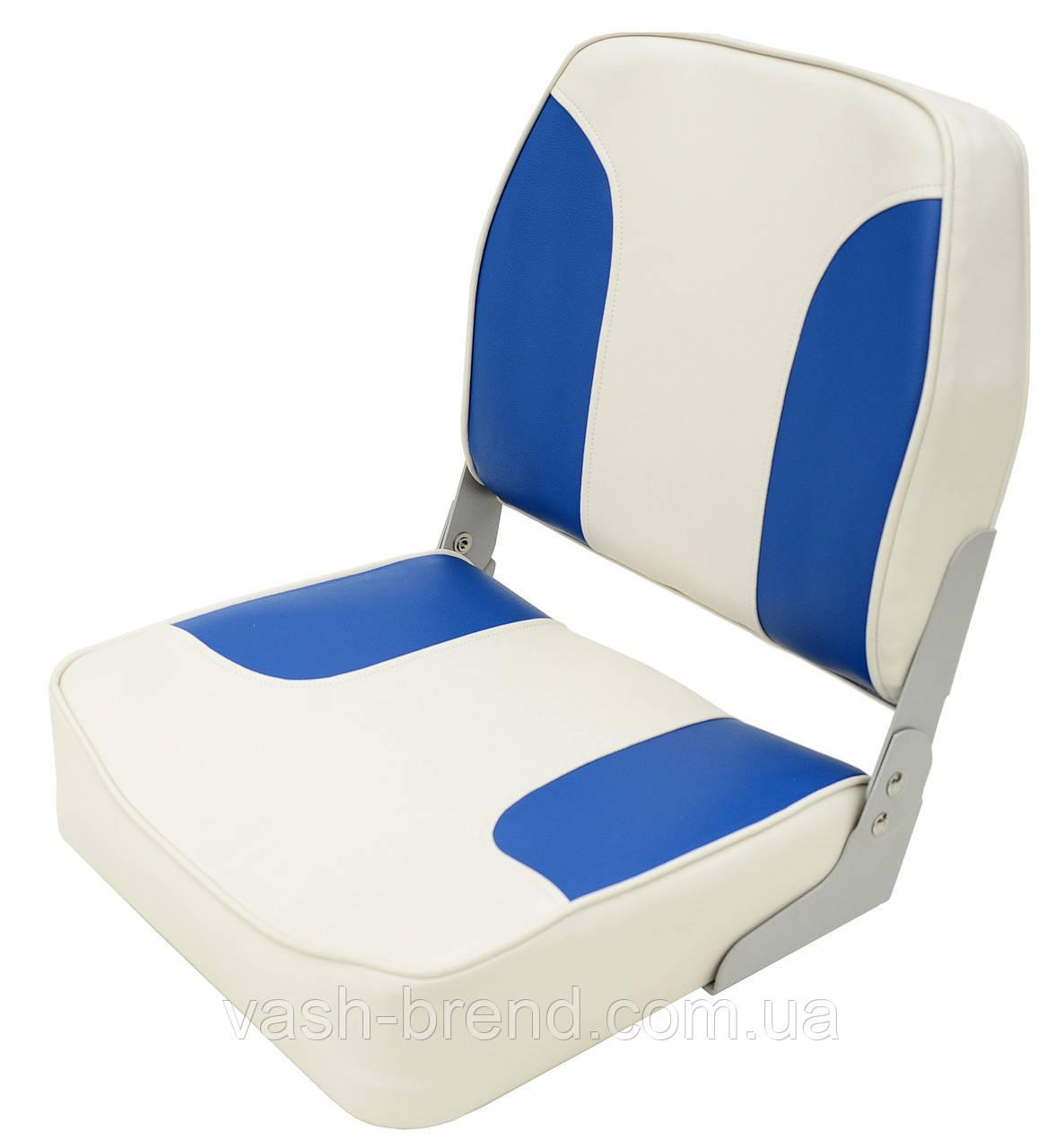 Сиденье складное серо-синее низкая спинка