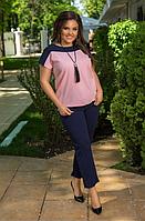Летний костюм женский, розовый с 48-58 размер, фото 1