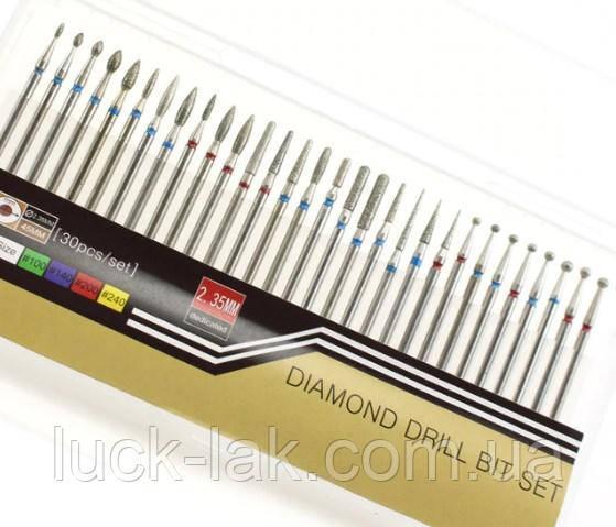 Набор 30 шт. алмазных цилиндрических фрез для маникюра, педикюра