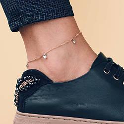 Золотой браслет на ногу Сердечка б02137