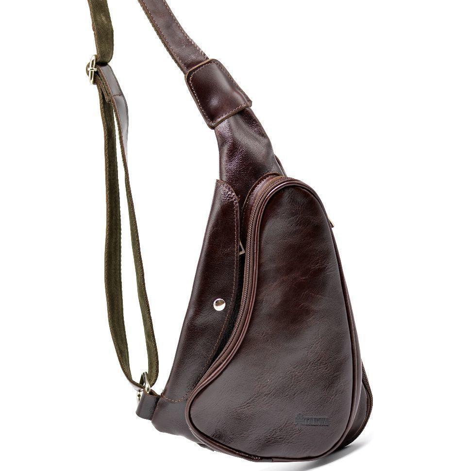 Трендовий рюкзак з натуральної шкіри на одне плече GX-3026-4lx бренд TARWA