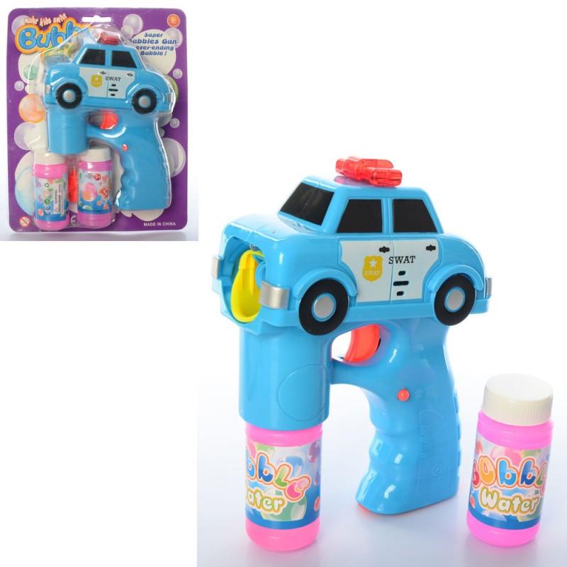 Пістолет на бульбашки, машина, поліція, 2 запаски, музика, світло, на батарейки, в блістері, 19-23-6см