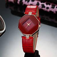 Женские часы Геометрия кожаный ремешок (Красные)