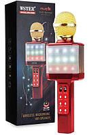 Беспроводной Микрофон караоке Wster ws-1828 с светодиодной цветомузыкой