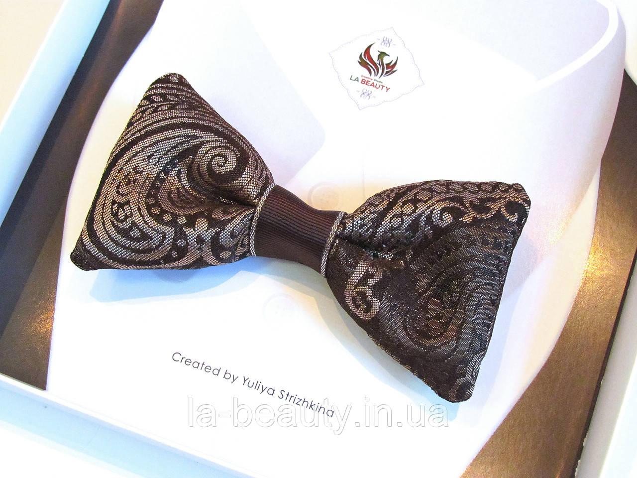 Дизайнерский галстук - бабочка для мужчины, женщины, мальчика кофейный с золотом эксклюзив - 1