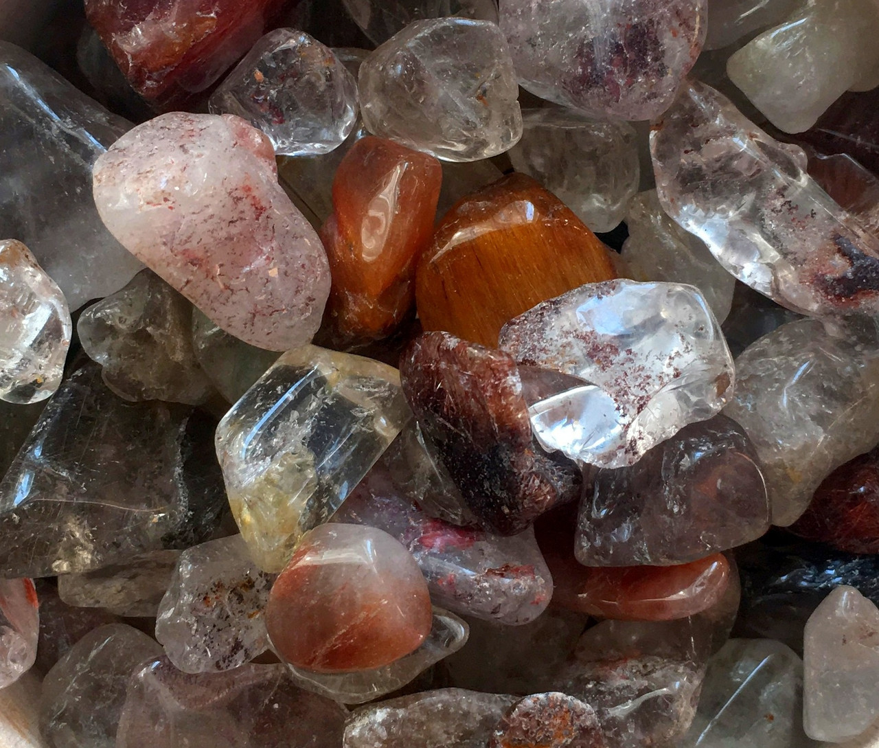 Натуральный камень крошка Хрусталь Рутиловый волосатик 10-25 мм 10 грамм Натуральний камінь скол