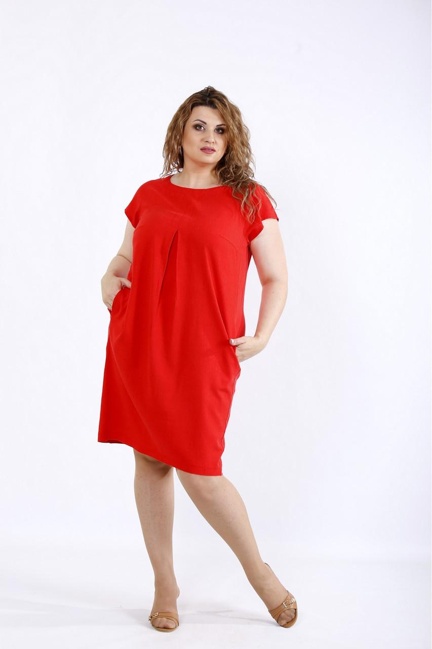 Коралове літнє плаття жіноче з льону великого розміру 42-74. 01174-3