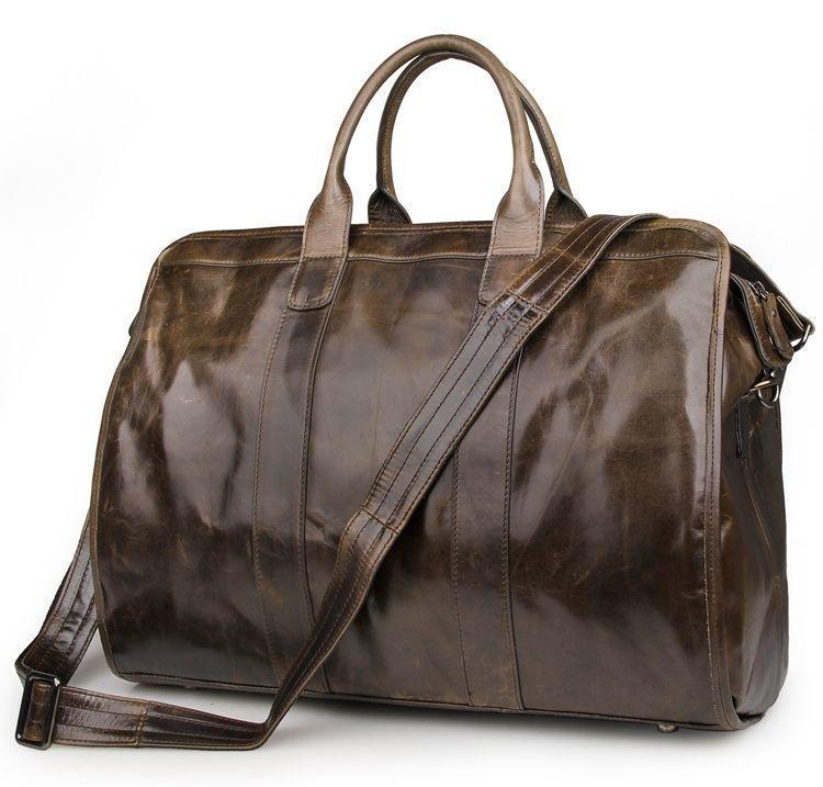 Супер вместительная сумка-боченок из натуральной кожи John McDee 7324B