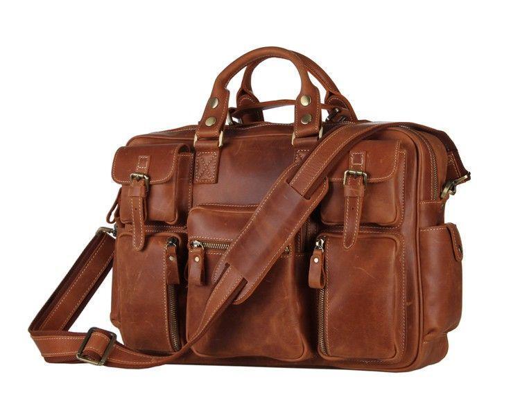 Брутальная кожаная сумка с множеством карманов 7028B-2 коричневая Vintage