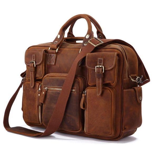 Брутальная кожаная сумка - множество карманов, нубук Vintage  7028B-1