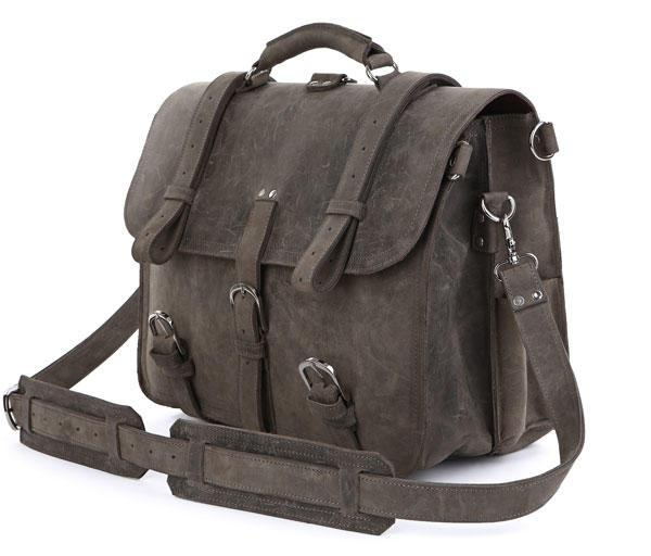 Брутальная большая сумка из лошадиной кожи, трансформер, серая Vintage