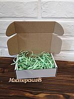 Коробка 150*100*50 мм белая для подарка с салатовым наполнителем , для сувенира, для мыла, косметики, пряника