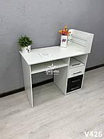 Маникюрный стол с вытяжкой 16 вт, стол для  маникюра со стеклянными полками Модель V426 черный / белый