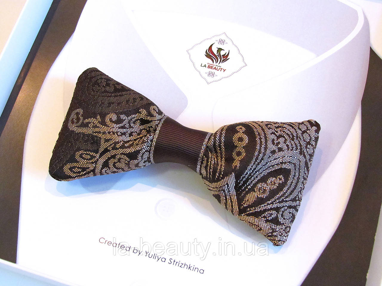 Дизайнерский галстук - бабочка для мужчины, женщины, мальчика кофейный с золотом эксклюзив - 2