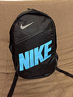 Рюкзак спортивный Nike, модель R-55, цвет черный с голубым логотипом.