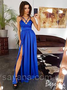 Женское шелковое платье макси в расцветках. СФ-7-0619