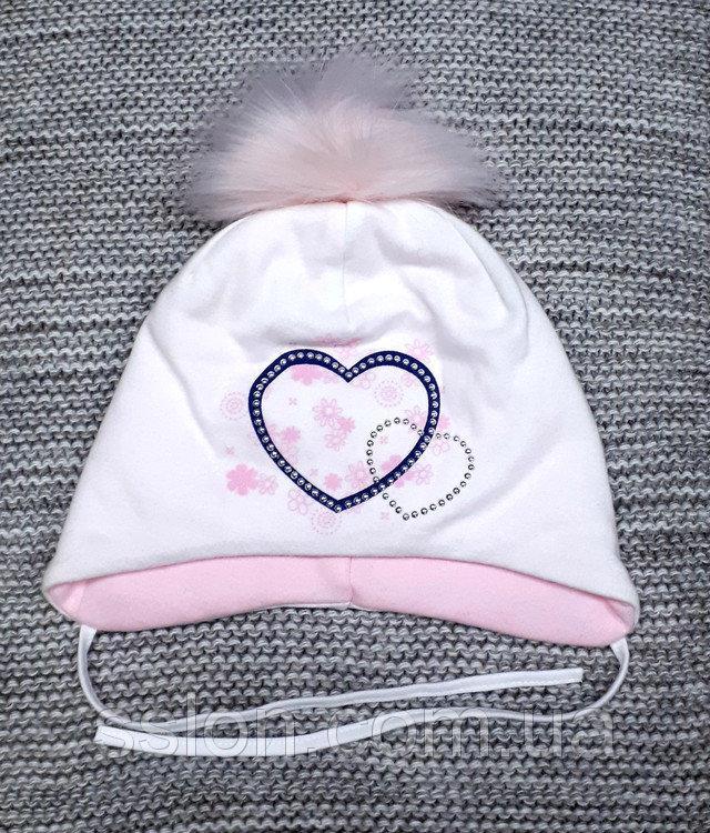 Шапка детская  на девочку весна-осень белого цвета MAGROF (Польша) размер 46 48