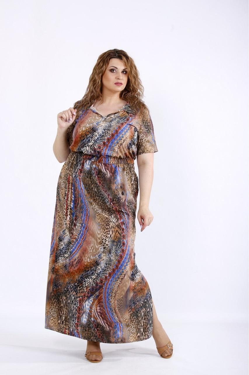 Коричневое длинное платье летнее цветное большого размера 42-74. 01190-3