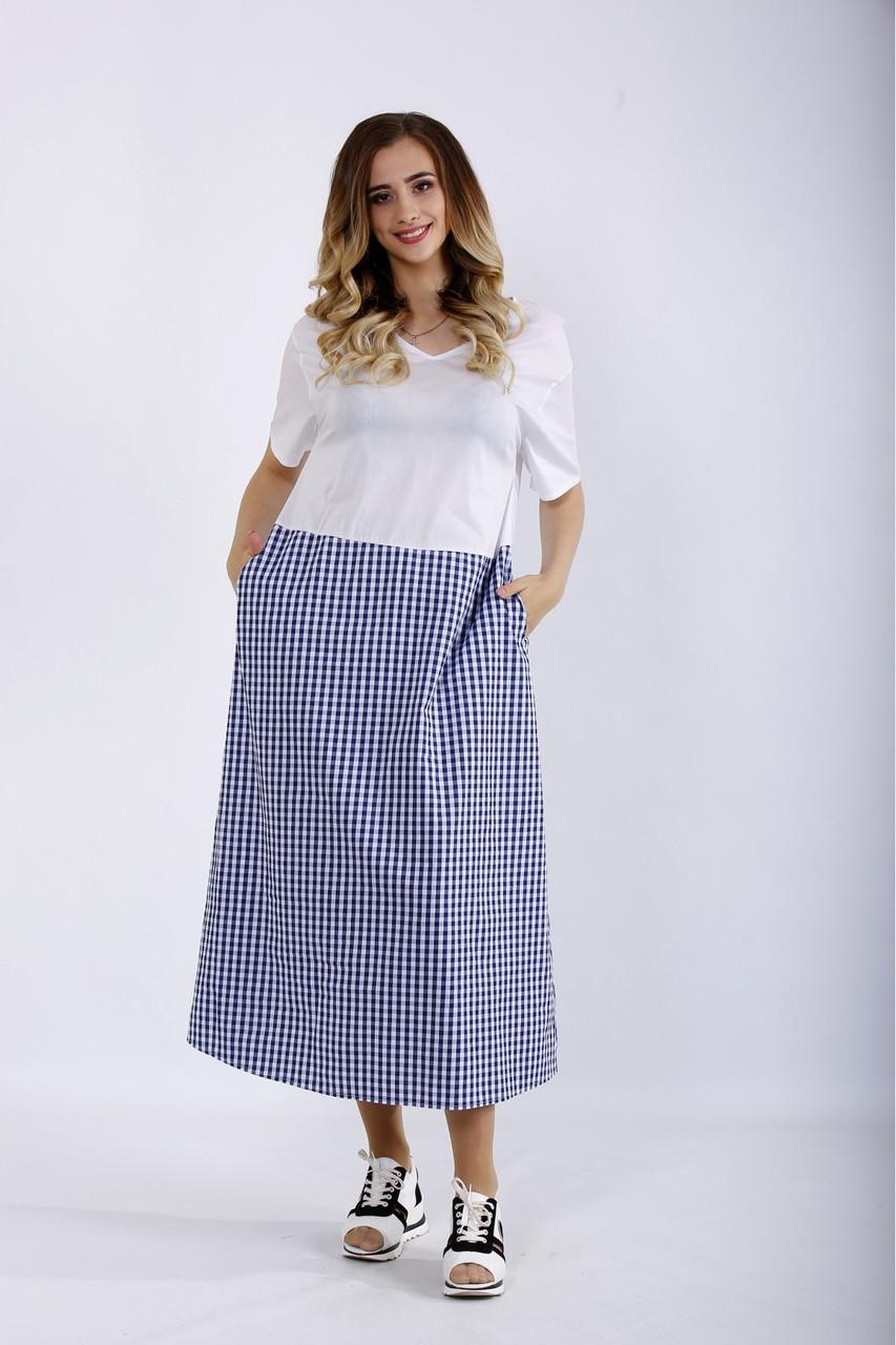 Комбинированное платье летнее длинное в клетку большого размера 42-74. 01192-1