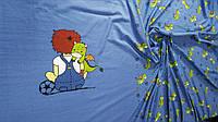 Трикотажное полотно стрейч-кулир купон ПЕНЬЕ Цифровая печать. Мальчик с  дракончиком ( на  синем)