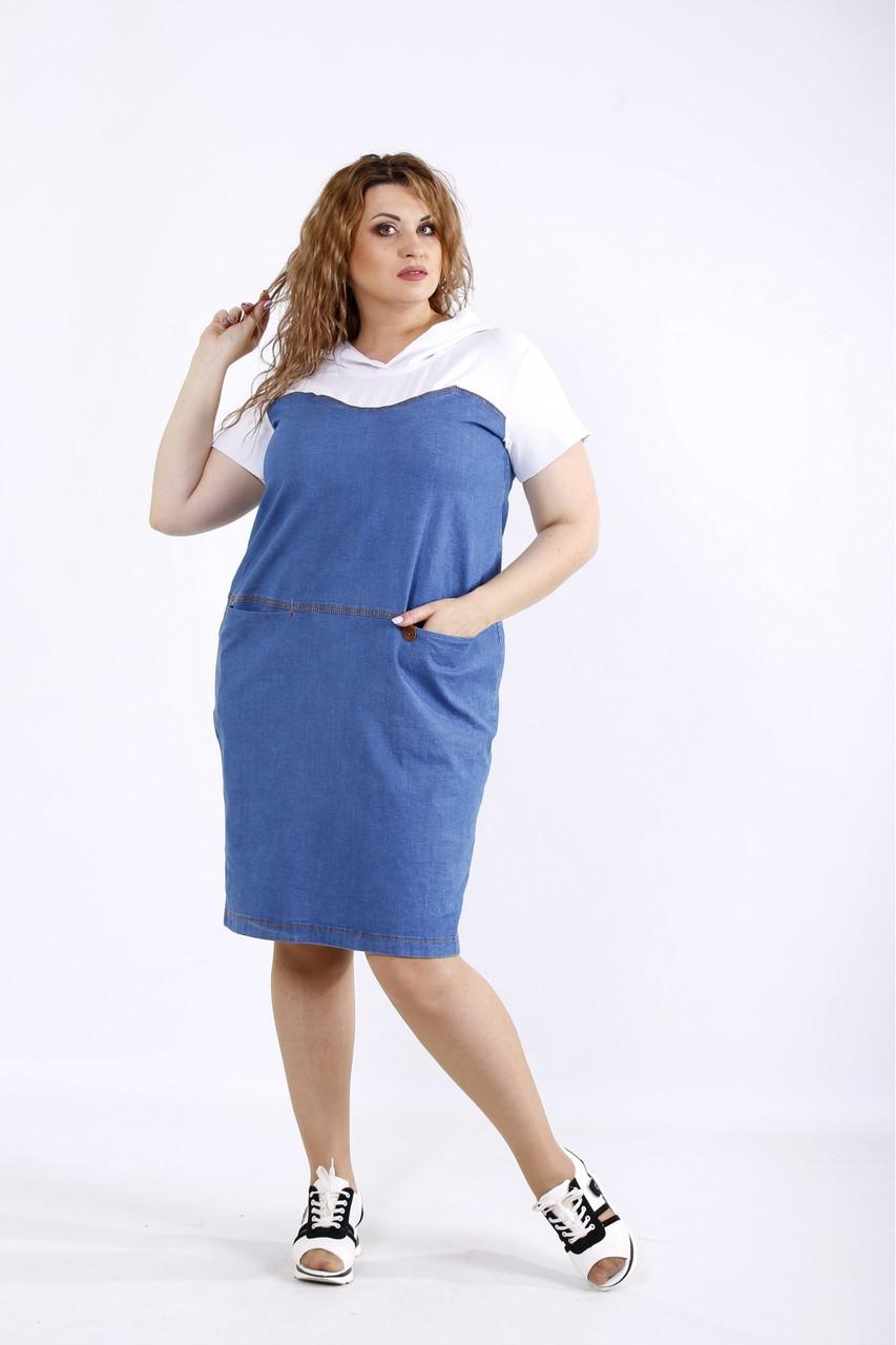 Комбіноване плаття літнє пряме стильне з двох тканин великого розміру 42-74. 01200-1